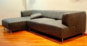 перетяжка углового дивана кожей