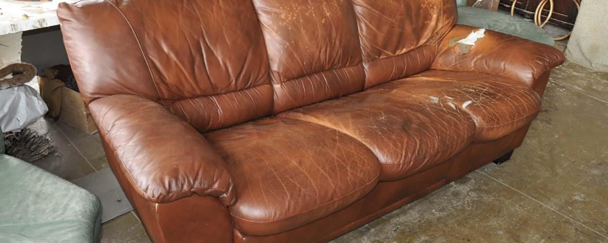 перетяжка кожаного дивана до